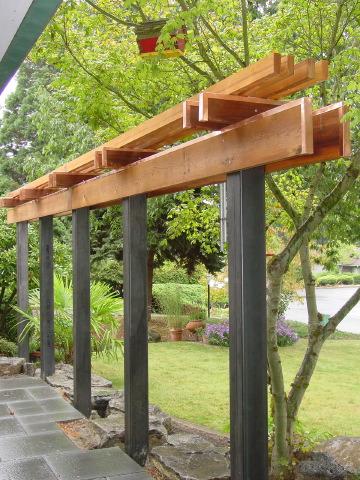 steel and wood pergula home